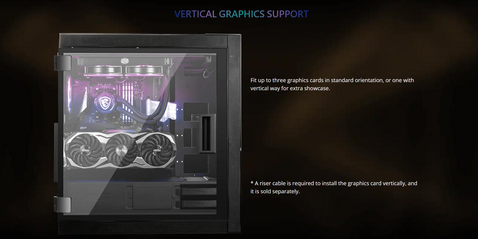 Vỏ Case MSI MPG SEKIRA 500X hỗ trợ xoay dọc VGA, khoe trọn vẻ đẹp card đồ họa của bạn