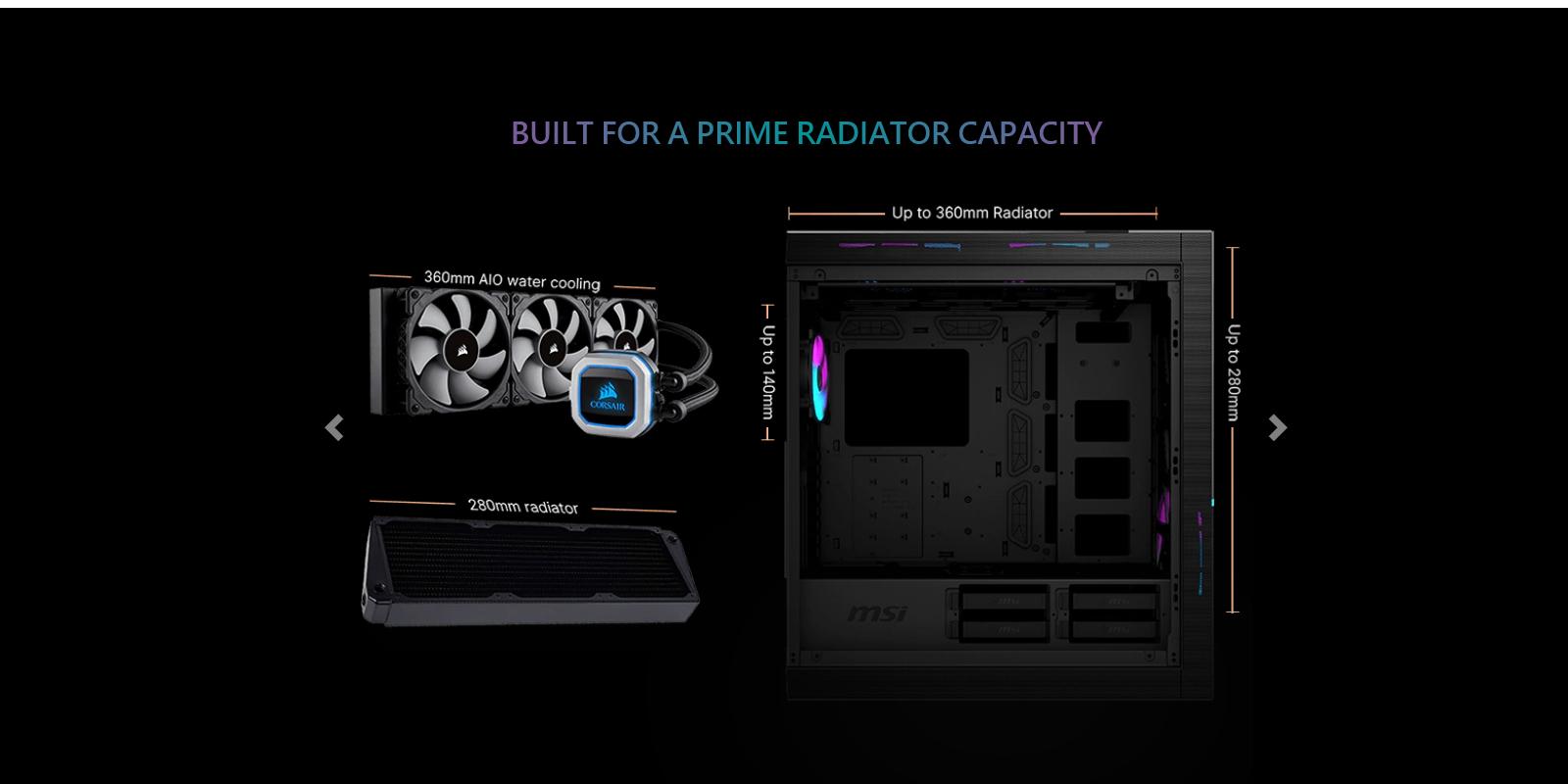 Vỏ Case MSI MPG SEKIRA 500X với không gian lắp đặt Radiator cho tản nhiệt nước vô cùng đa dạng.