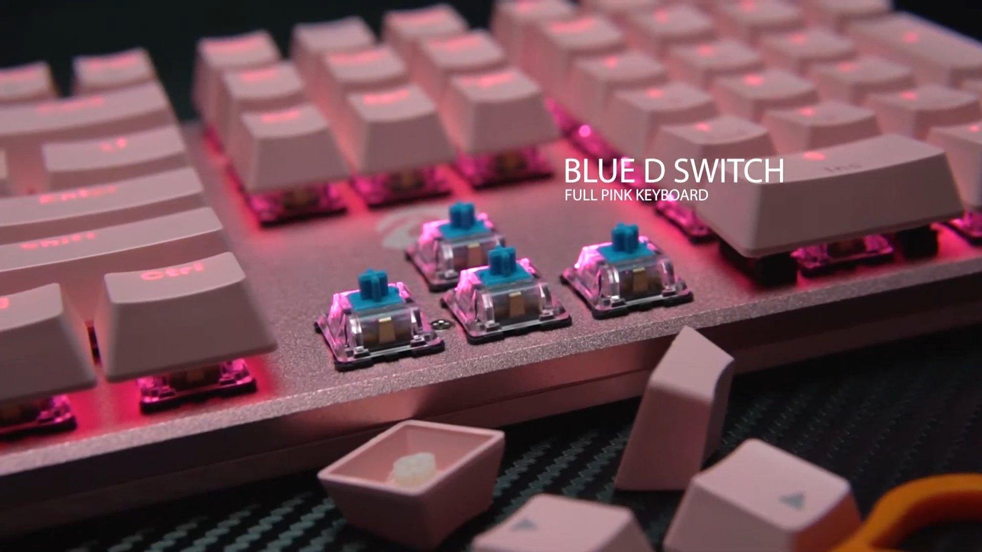 Bàn Phím cơ Dareu EK810 Pink (USB/Pink Led/Blue switch) sử dụng switch D độc quyền DareU