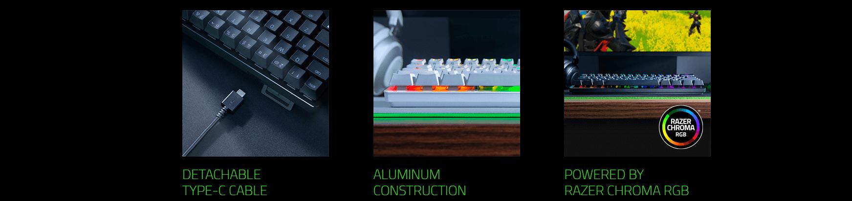Bàn phím cơ Razer Huntsman Mini Mercury ( Clicky Purple optical switch) (RZ03-03390300-R3M1) có nhiều tính năng tiện lợi trong thiết kế