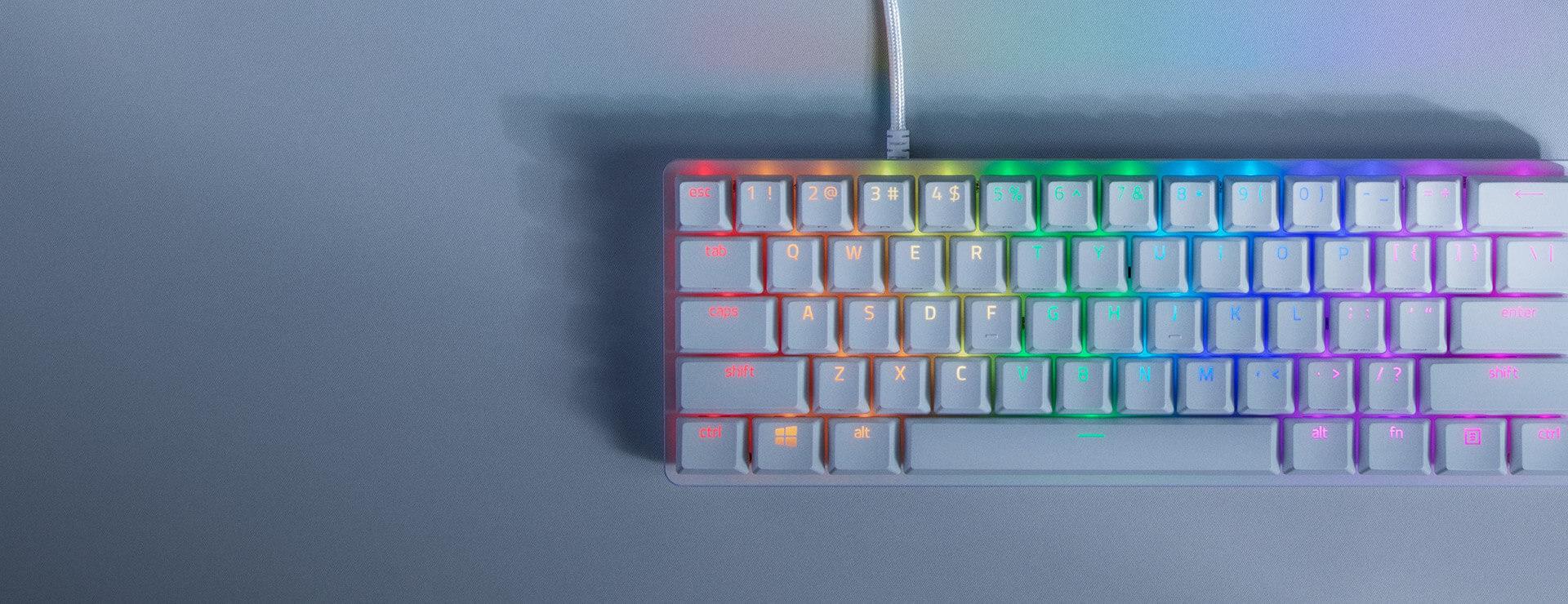 Bàn phím cơ Razer Huntsman Mini Mercury ( Clicky Purple optical switch) (RZ03-03390300-R3M1) có thể lưu trữ tuỳ chỉnh trên bộ nhớ của bàn phím