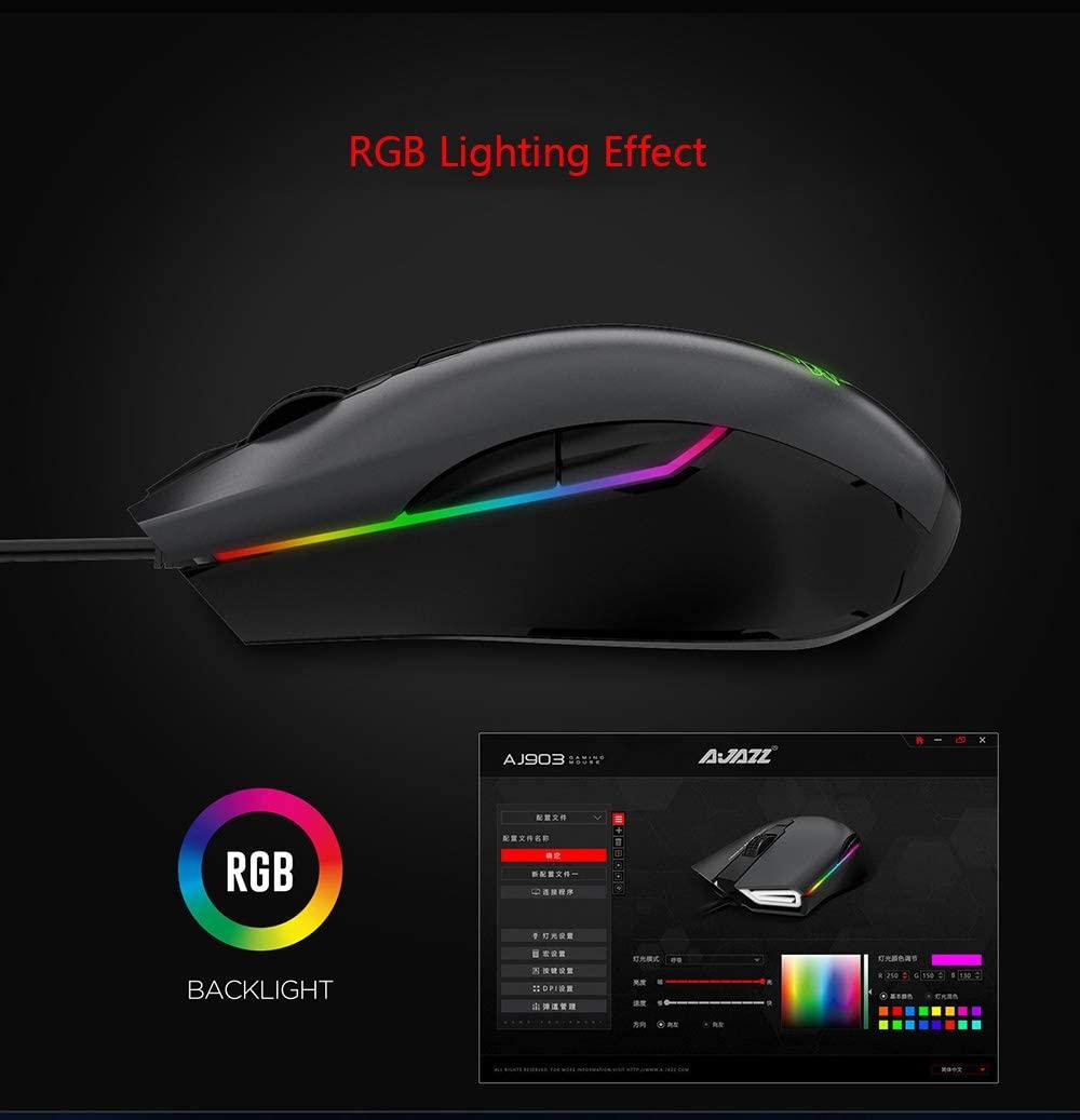 Chuột Ajazz AJ903 (USB/RGB/màu đen) trang bị dải led RGB nổi bật