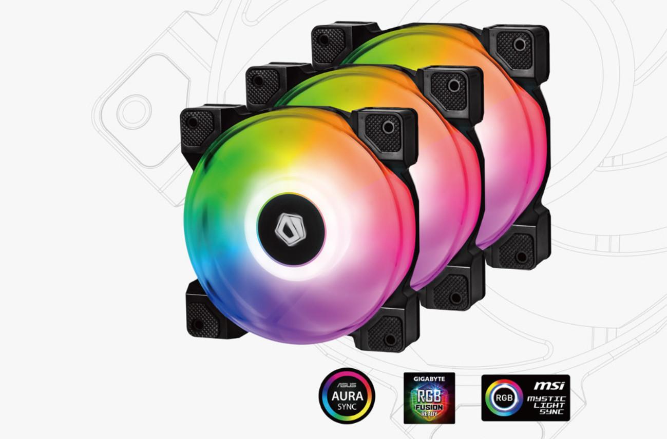 Fan Case ID Cooling DF-12025-ARGB TRIO 3pcs Pack là chiếc quạt tản nhiệt cao cấp với vòng đèn RGB bắt mắt