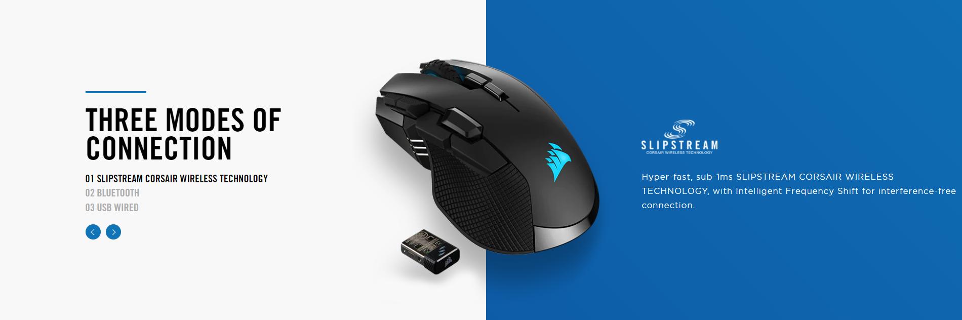 Chuột không dây Corsair Iron claw RGB (USB/RGB/Đen) (CH-9317011-AP) có kết nối wireless cực nhanh và các kiểu kết nối đa dạng