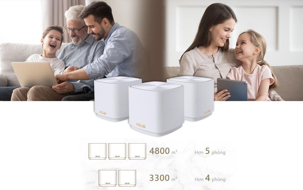 Bộ phát wifi ASUS XD4 (B-2-PK) Mesh wifi 6, Chuẩn AX1800 2