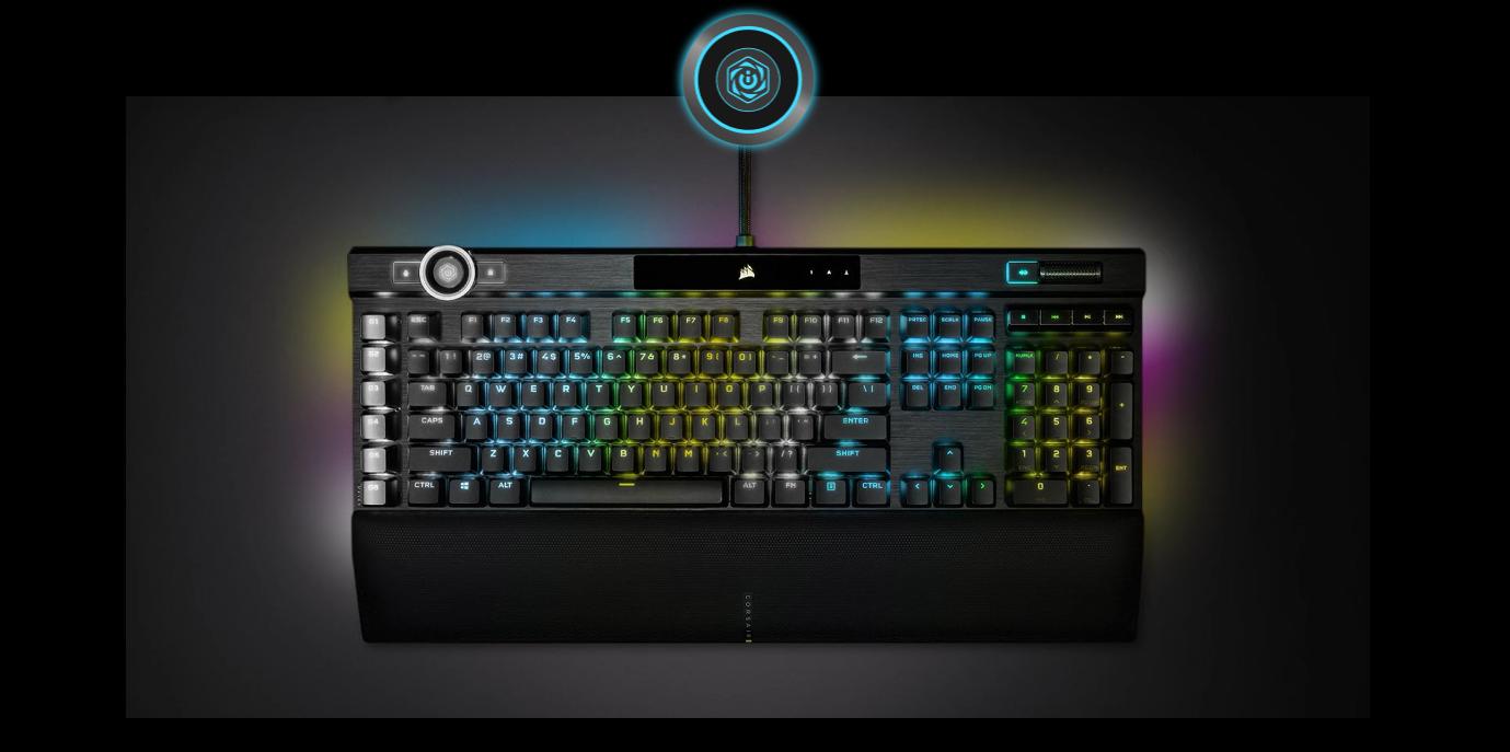 Bàn phím Corsair K100 RGB Speed switch (CH-912A014-NA)  tích hợp núm xoay với nhiều tính năng khác nhau