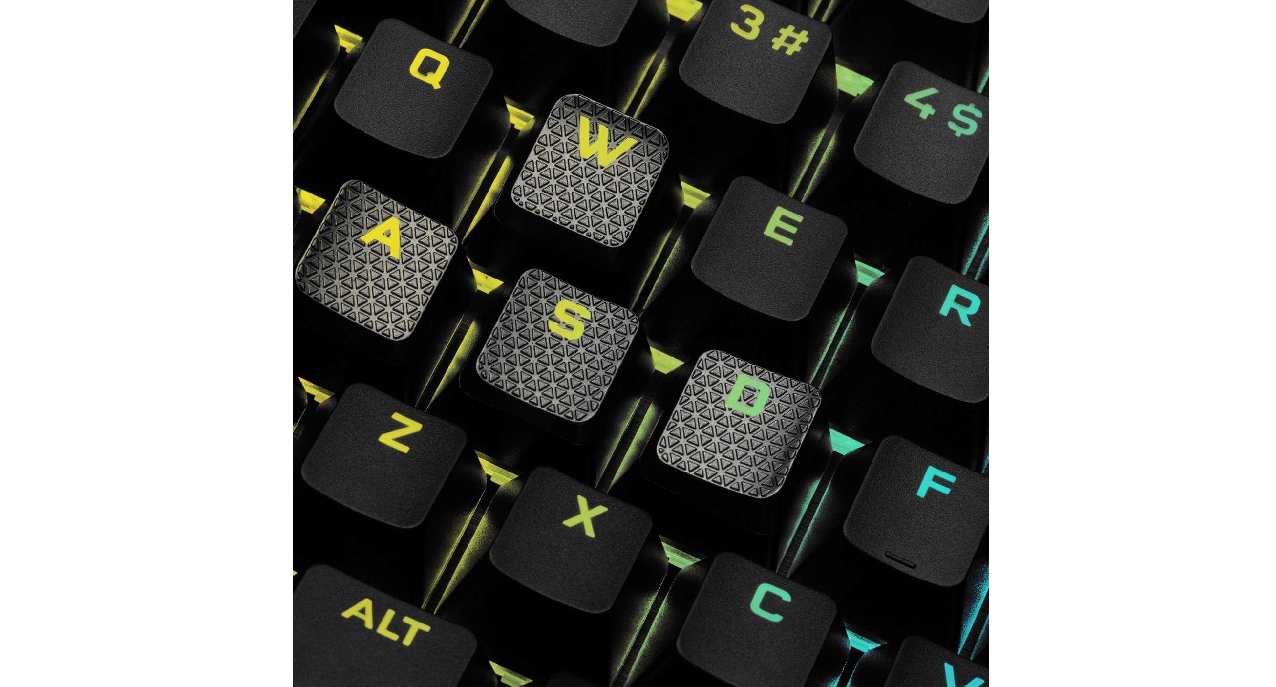 Bàn phím Corsair K100 RGB Optical switch (OPX-RF) (CH-912A01A-NA) trang bị bộ keycap pbt bền bỉ