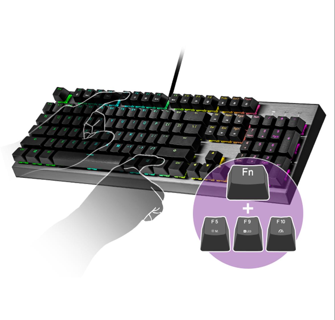 Bàn phím cơ Cooler Master CK350 (USB/RGB/Red switch) có thể điều chỉnh chức năng ngay trên phím
