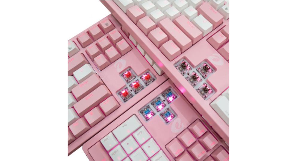 Bàn Phím cơ Dareu EK87 Pink White (USB/Pink LED/Brown switch) sử dụng switch D độc quyền