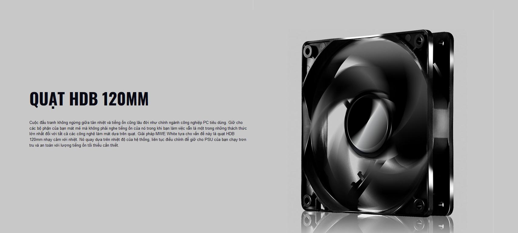 Nguồn máy tính Cooler Master MWE V2 230V 400 400W Plus Bronze (80 Plus Bronze/Màu Đen) giới thiệu quạt hdb 120