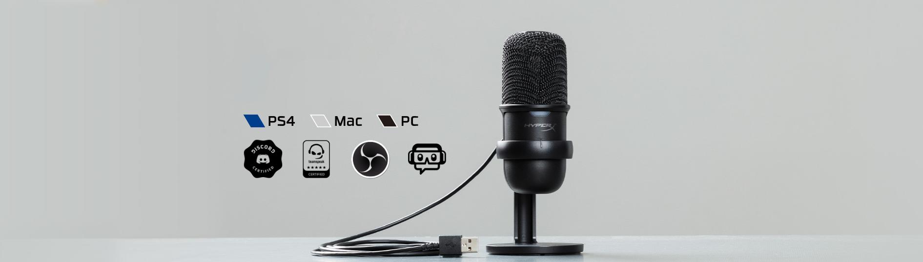 Microphone Kingston HyperX Solocast - Standalone Microphone HMIS1X-XX-BK/G có thể tương thích với nhiều thiết bị