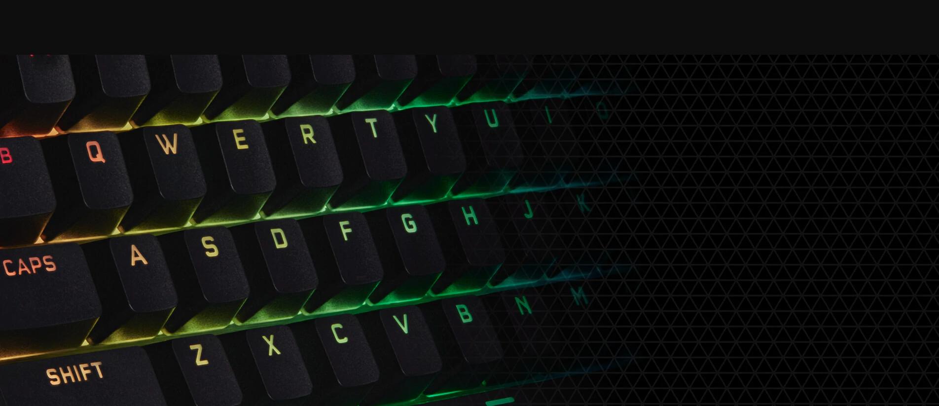 Bàn phím Corsair K60 PRO (USB/Red LED/Cherry MX Viola) (CH-910D029-NA) trang bị bộ keycap PBT Doubleshot bền bỉ