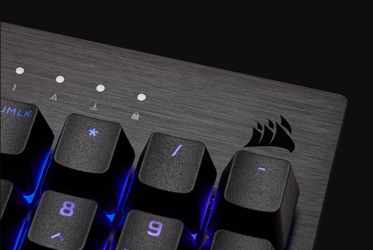 Bàn phím Corsair K60 PRO SE (USB/RGB LED/Cherry MX Viola) (CH-910D119-NA) có thiết kế khung nhôm sang trọng và chắc chắn