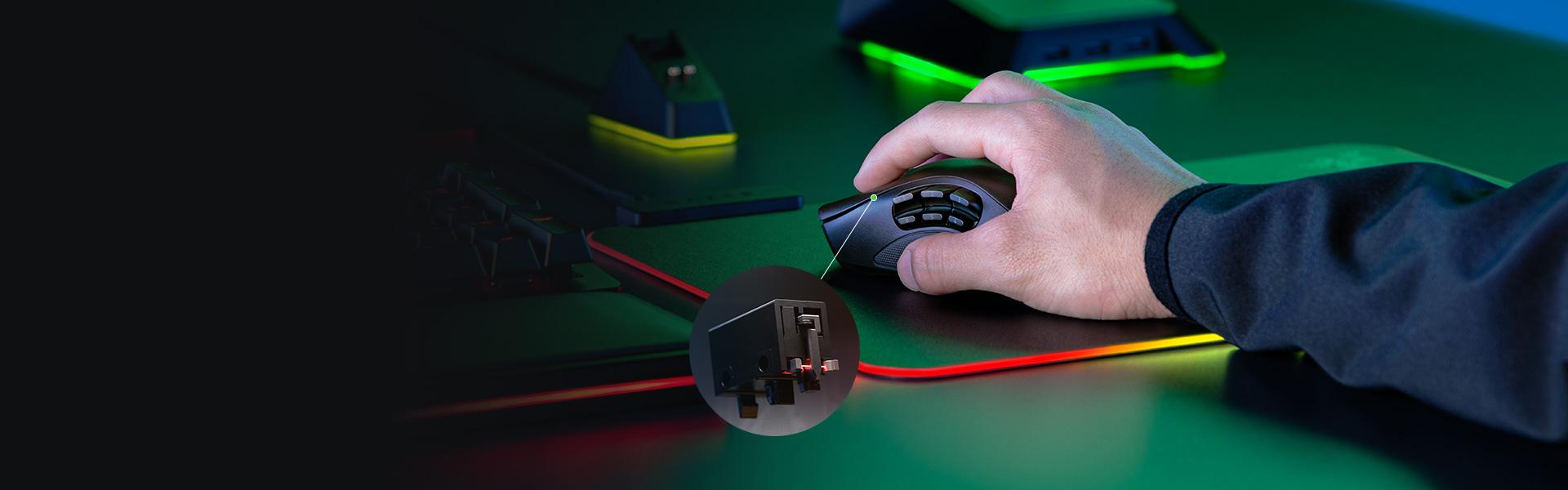 Chuột không dây Razer Naga Pro Wireless (USB/RGB) (RZ01-03420100-R3A1) sử dụng nút bấm quang học độc quyền Razer