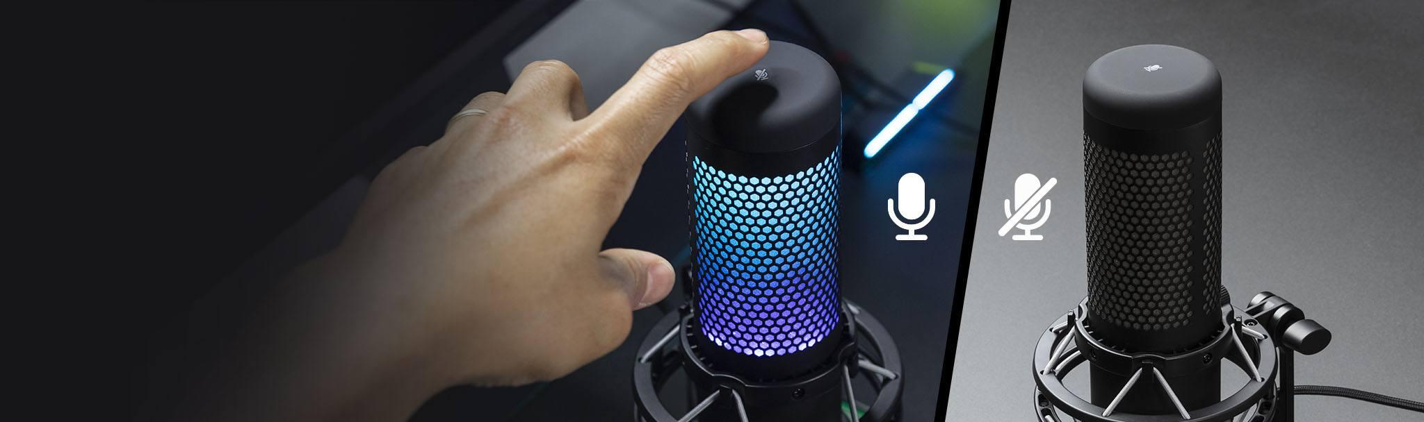 Microphone Kingston HyperX QuadCast S RGB - HMIQ1S-XX-RG/G có thể tắt tiếng bằng 1 chạm