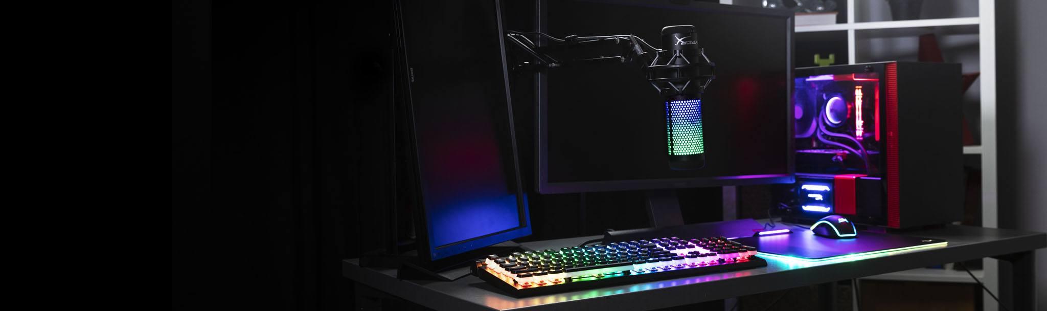 Microphone Kingston HyperX QuadCast S RGB - HMIQ1S-XX-RG/G có thể điều chỉnh led dễ dàng