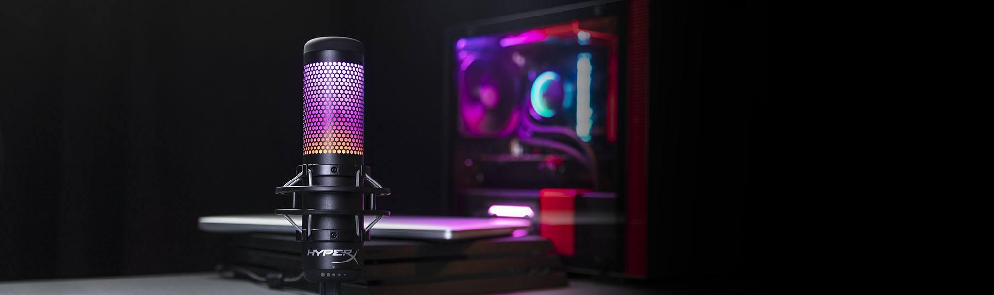 Microphone Kingston HyperX QuadCast S RGB - HMIQ1S-XX-RG/G tương thích với nhiều thiết bị console/PC để livestream