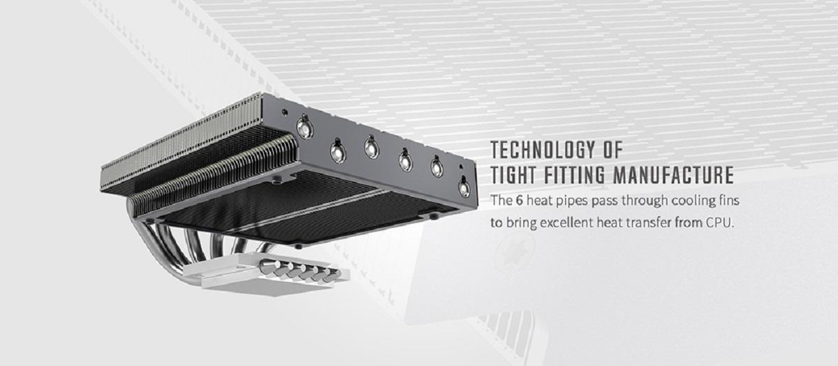 Tản nhiệt khí CPU ID-COOLING IS 47K với 6 ống dẫn nhiệt, truyền tải nhiệt từ bề mặt hấp thụ sang các phiến lá nhanh chóng.