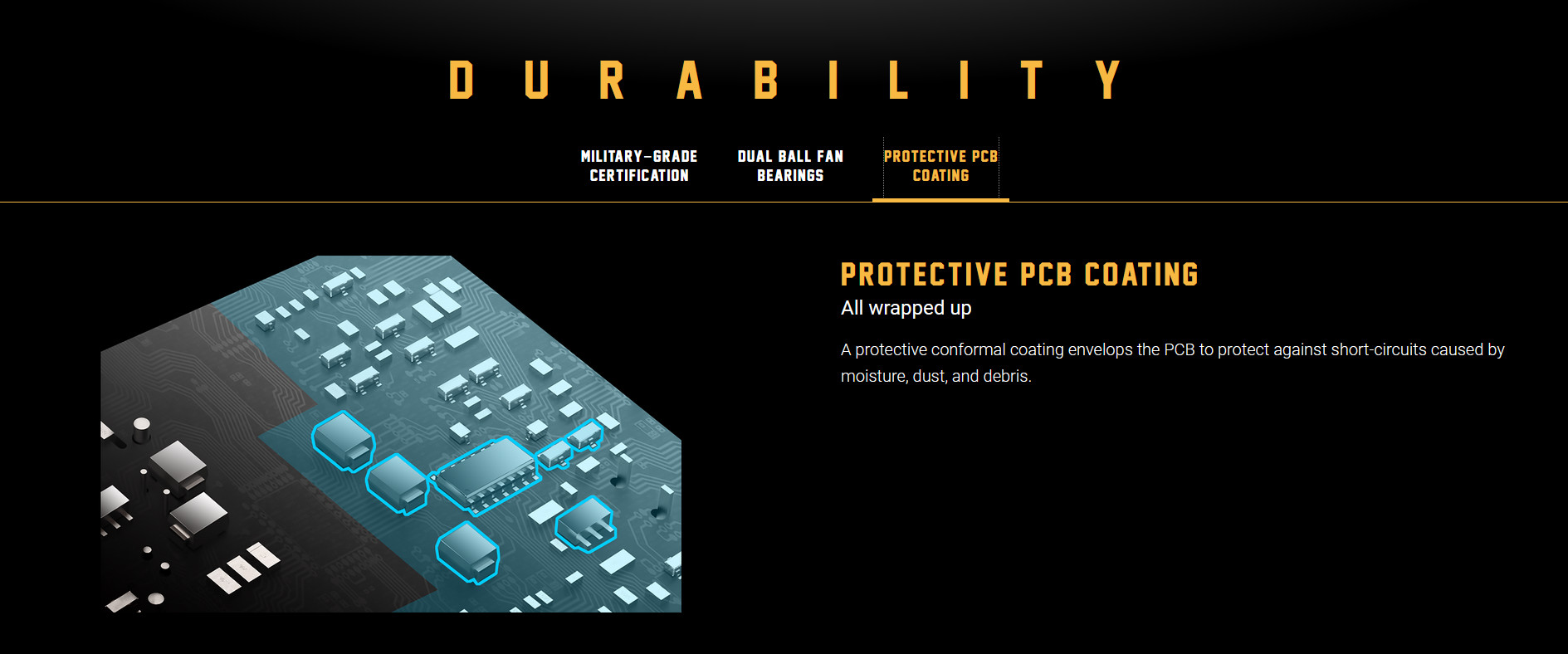 Nguồn ASUS TUF GAMING 550W Bronze ( Màu Đen/80 Plus Bronze ) với lớp phủ PCB bảo vệ