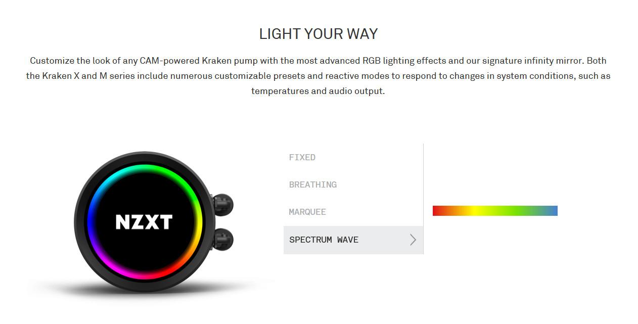 Tản nhiệt nước CPU NZXT Kraken X53 RGB có thể tuỳ chỉnh giao diện bên ngoài thông qua phần mềm CAM, các profile cóthể tùy chọn tùy chỉnh ánh sáng tiện lợi