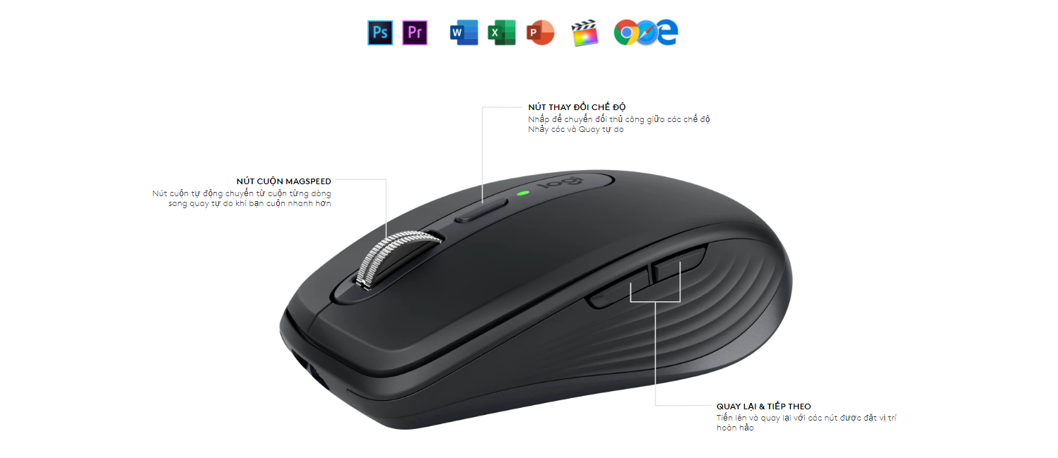 Chuột Logitech MX Anywhere 3 Pale Grey (USB/Wireless/Bluetooth/Xám/910-005993) có thể tuỳ biến chức năng chuột theo từng ứng dụng khác nhau