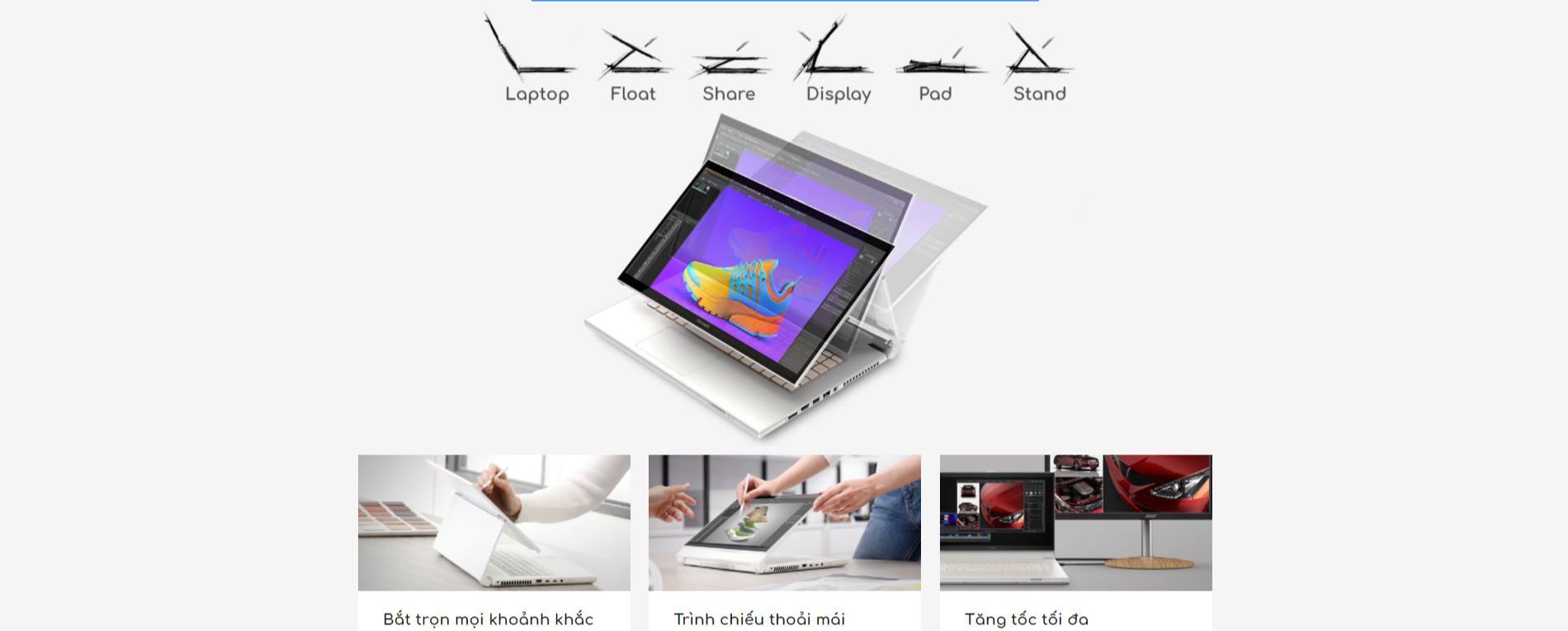ConceptD 7 Ezel Pro với bản lề biến hình 6 phong cách