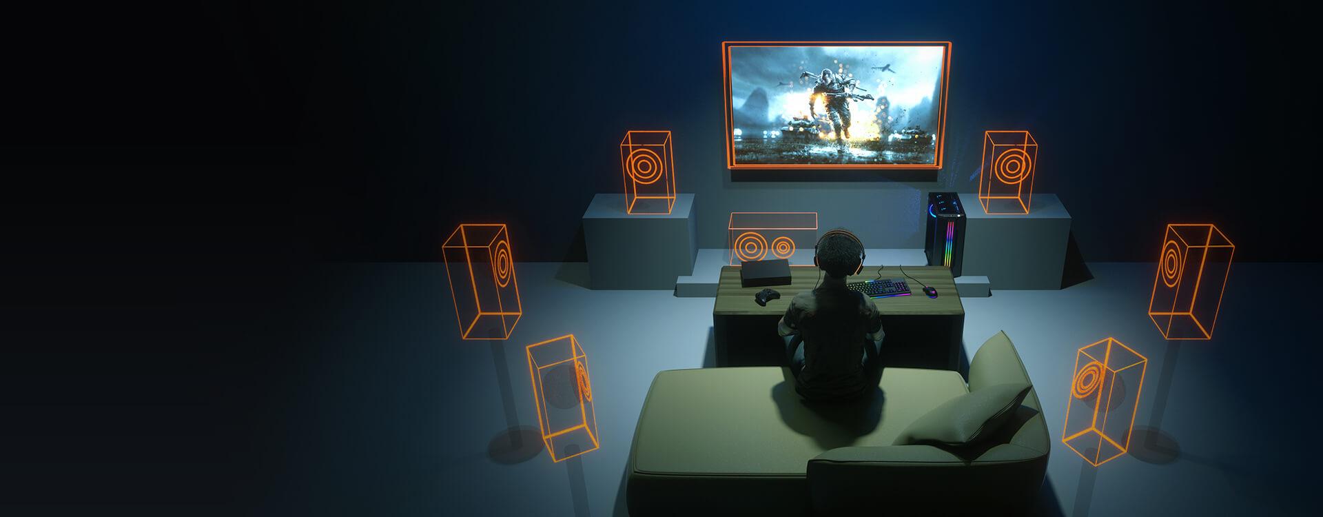 Tai nghe Cougar Immersa Pro Ti RGB - 7.1 Virtual Surround sử dụng công nghệ giả lập âm thanh vòm 7.1 cao cấp