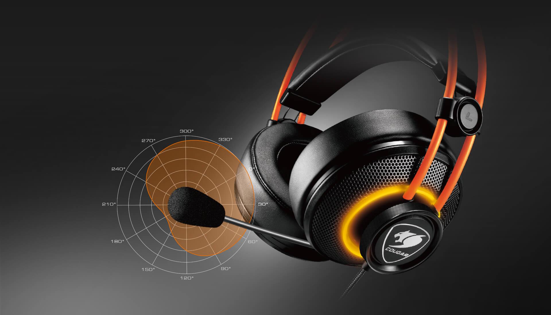 Tai nghe Cougar Immersa Pro Ti RGB - 7.1 Virtual Surround trang bị mic cardioid cho giọng nói trong trẻo
