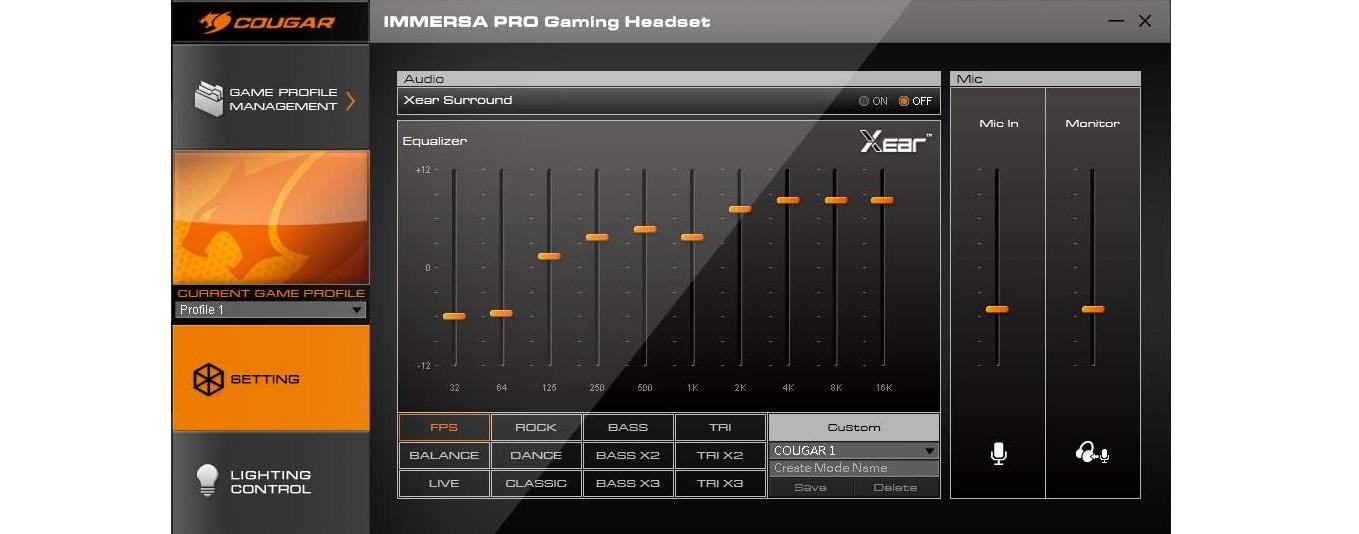 Tai nghe Cougar Immersa Pro Ti RGB - 7.1 Virtual Surround có thể tuỳ chỉnh bằng phần mềm