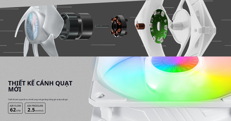 Fan Case CoolerMaster SickleFlow 120 ARGB White với thiết kế cánh quạt mới