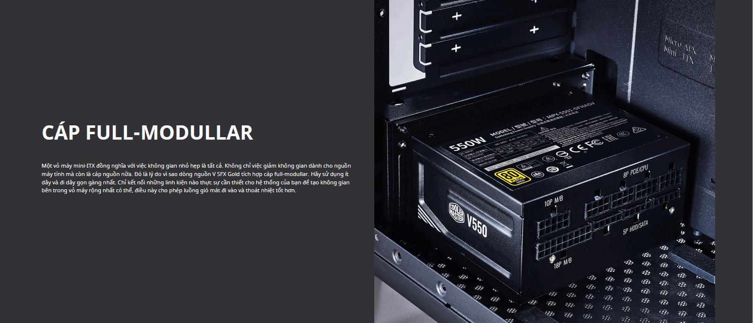 Nguồn máy tính Cooler Master 750W V SFX Gold   (80 Plus Gold/Màu Đen) cap full modular