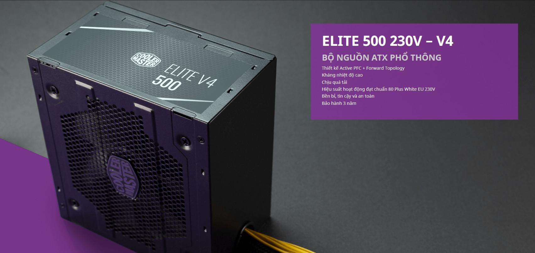 Nguồn máy tính Cooler master Elite 500w V4 (80 Plus /Màu Đen) intro 1