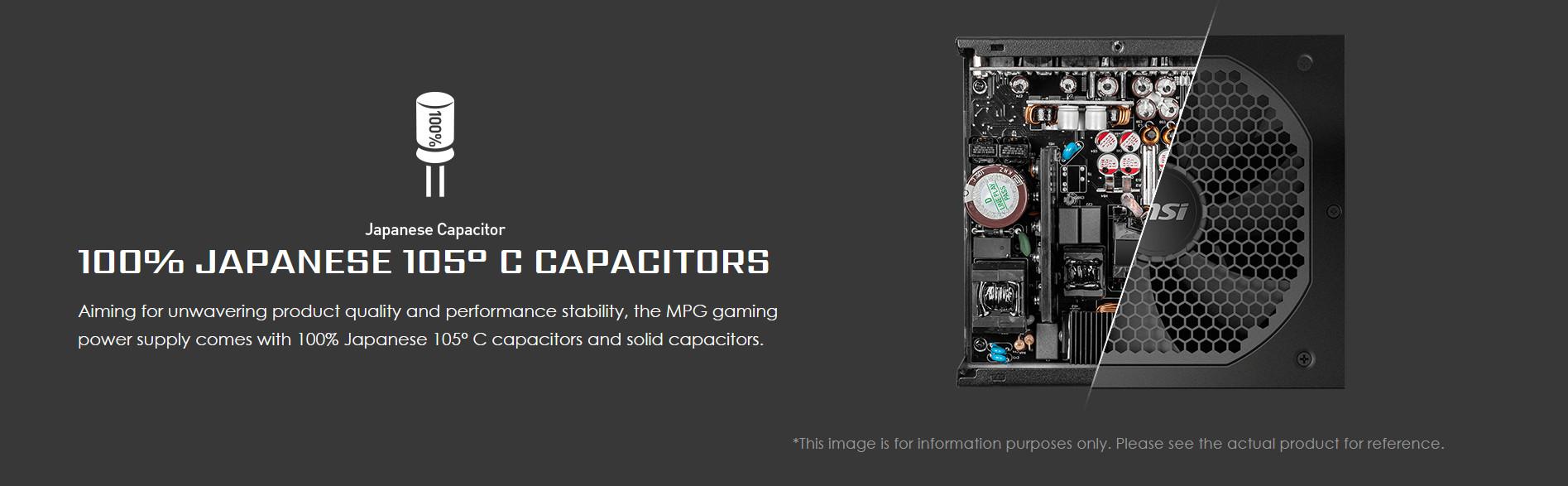 Nguồn máy tính MSI MPG A650GF 650W (80 Plus Gold/Full Modular/Màu Đen)  tụ nhật nguyên khối