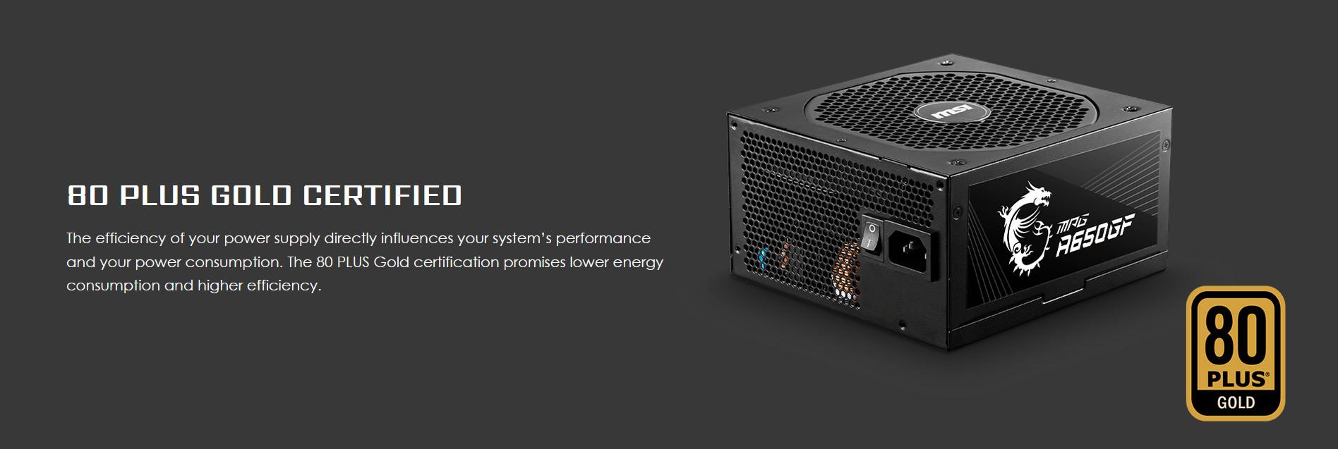 Nguồn máy tính MSI MPG A650GF 650W (80 Plus Gold/Full Modular/Màu Đen)  chuẩn 80 plus gold