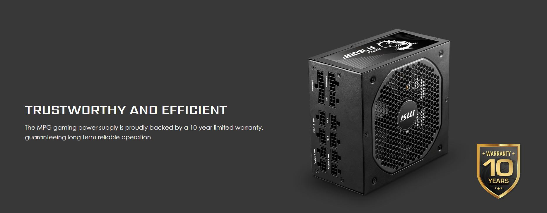 Nguồn máy tính MSI MPG A750GF 750W (80 Plus Gold/Full Modular/Màu Đen) giới thiệu 3