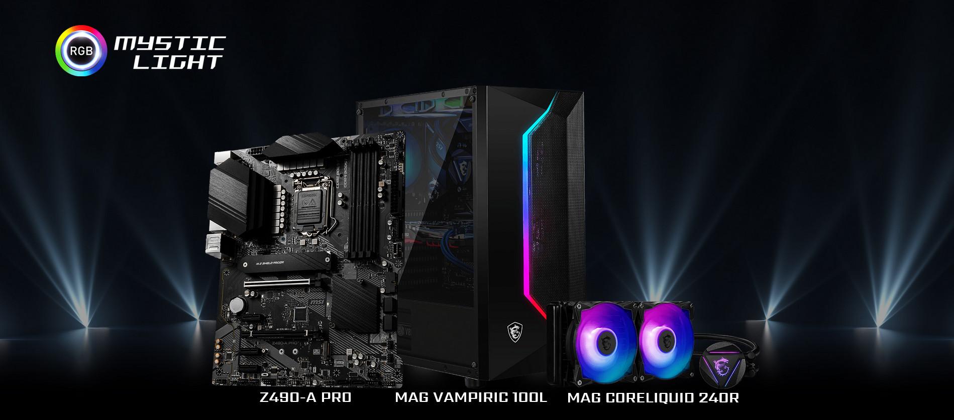 Vỏ Case MSI MAG VAMPIRIC 100L với khả năng đồng bộ màu RGB với mainboard qua mysticlight