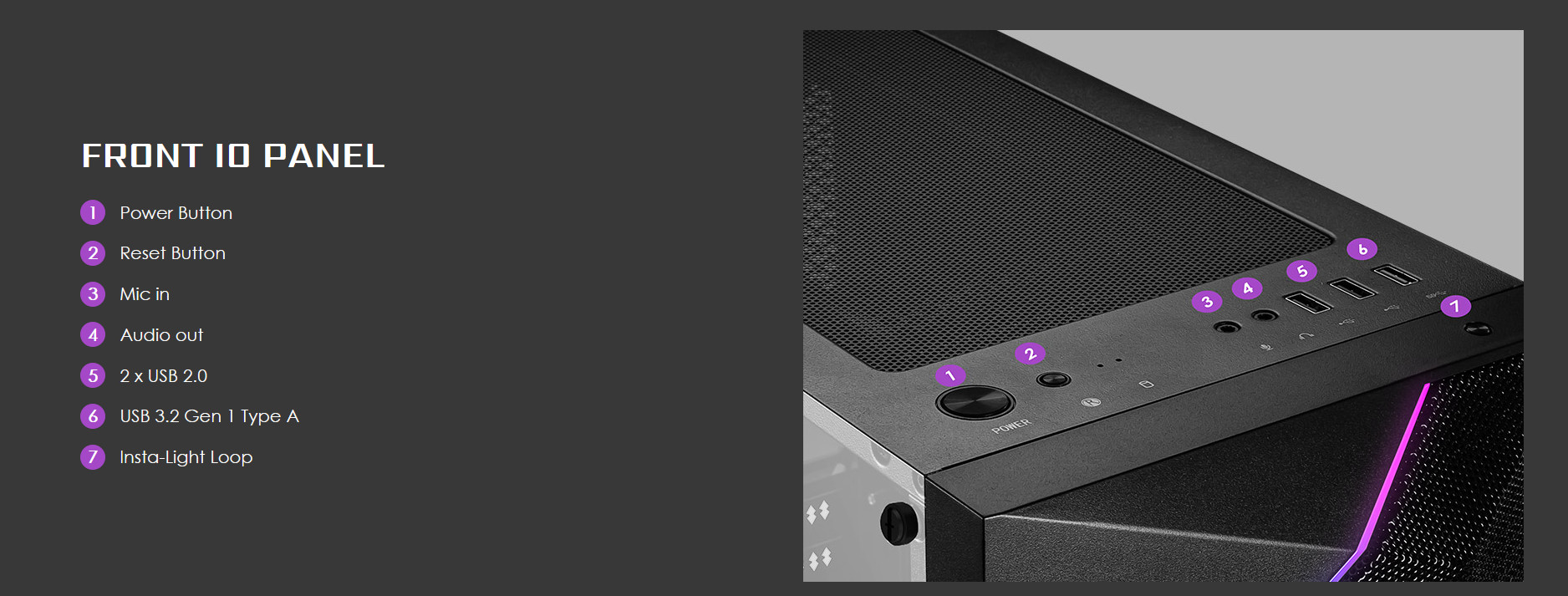 Vỏ Case MSI MAG VAMPIRIC 100L trang bị cổng kết nối mặt trước với đầy đủ nút bấm và các cổng kết nối USB + tai nghe