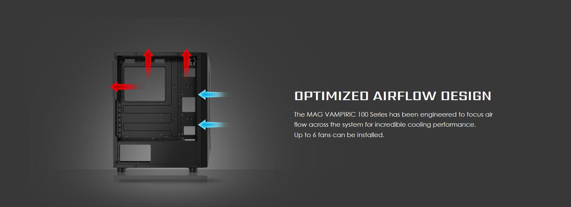 Vỏ Case MSI MAG VAMPIRIC 100L được tối ưu thiết kế hướng gió lưu thông.