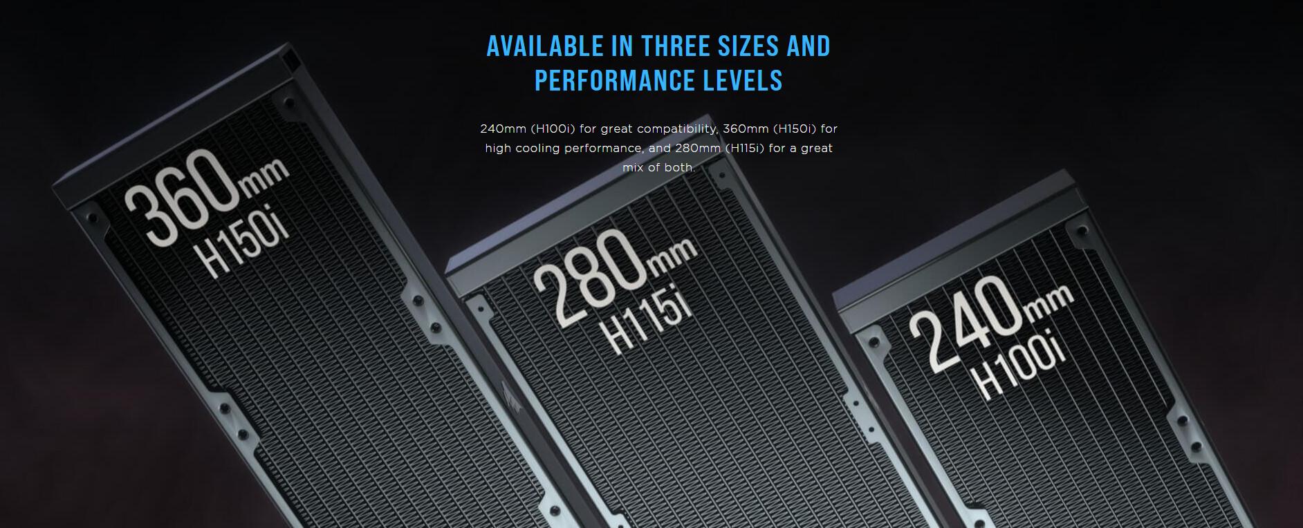 Tản nhiệt nước Corsair H115i ELITE CAPELLIX có sẵn với ba kích thước và ba mức hiệu năng khác nhau