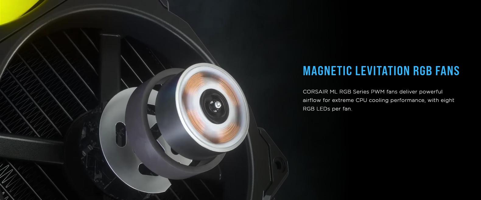 Tản nhiệt nước Corsair H115i ELITE CAPELLIX với quạt RGB Corsair ML với 8 bóng led mỗi quạt cho hiệu ứng ánh sáng sống động