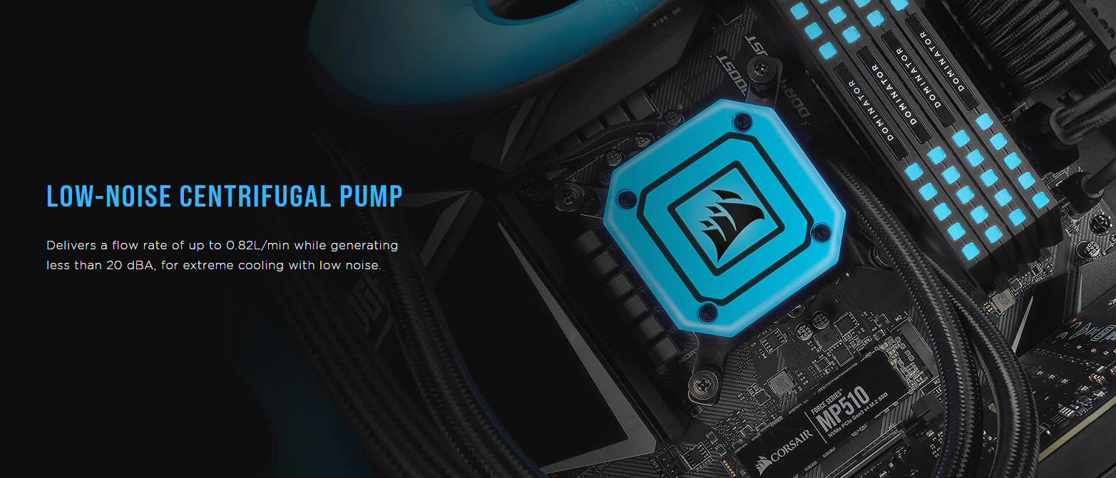 Tản nhiệt nước Corsair H115i ELITE CAPELLIX với bơm cung cấp lưu lượng 0.82L/h, cho độ ồn nhỏ hơn 20dBA, đem lại hiệu năng cao nhưng vẫn vô cùng êm ái