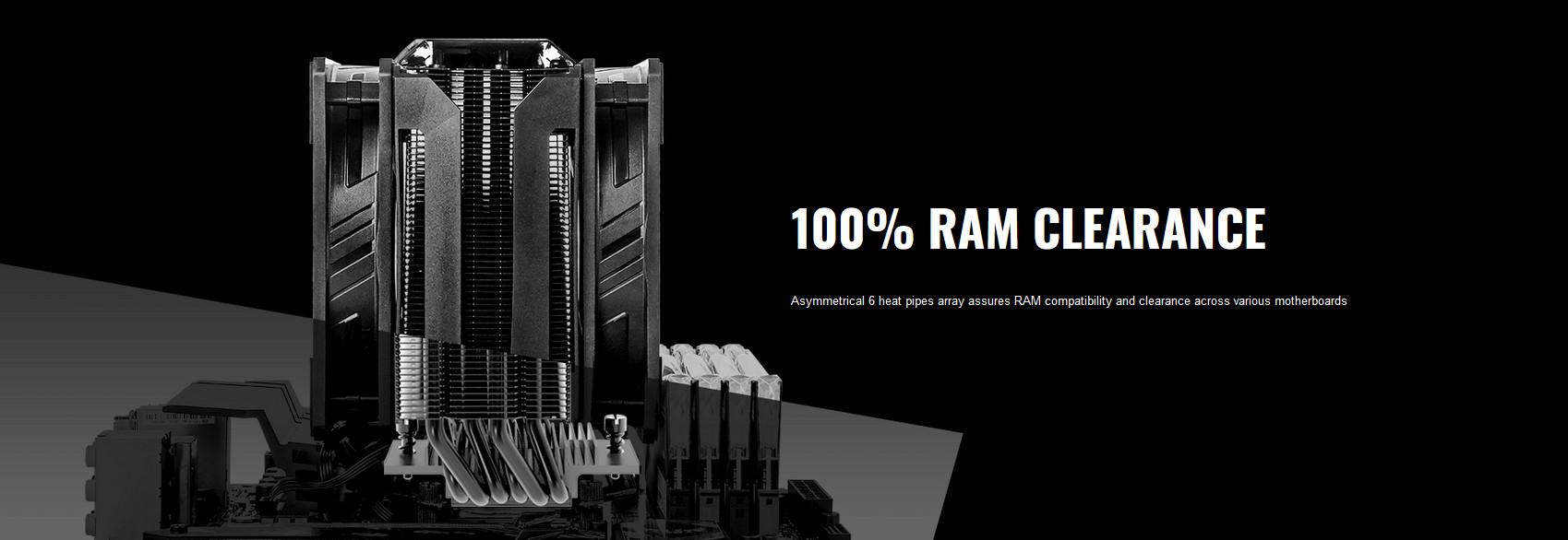 Tản nhiệt khí Cooler Master MasterAir MA612 Stealth sở hữu thiết kế không đối xứng, tương thích với RAM 100%