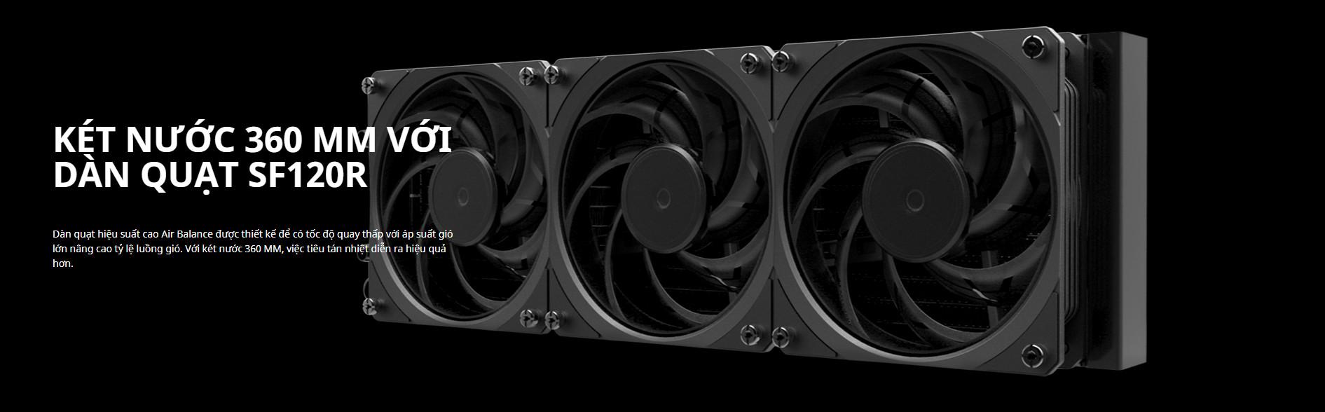 Tản nhiệt nước Cooler Master ML360 SUB - ZERO sở hữu KÉT NƯỚC 360 MM VỚI DÀN QUẠT SF120R