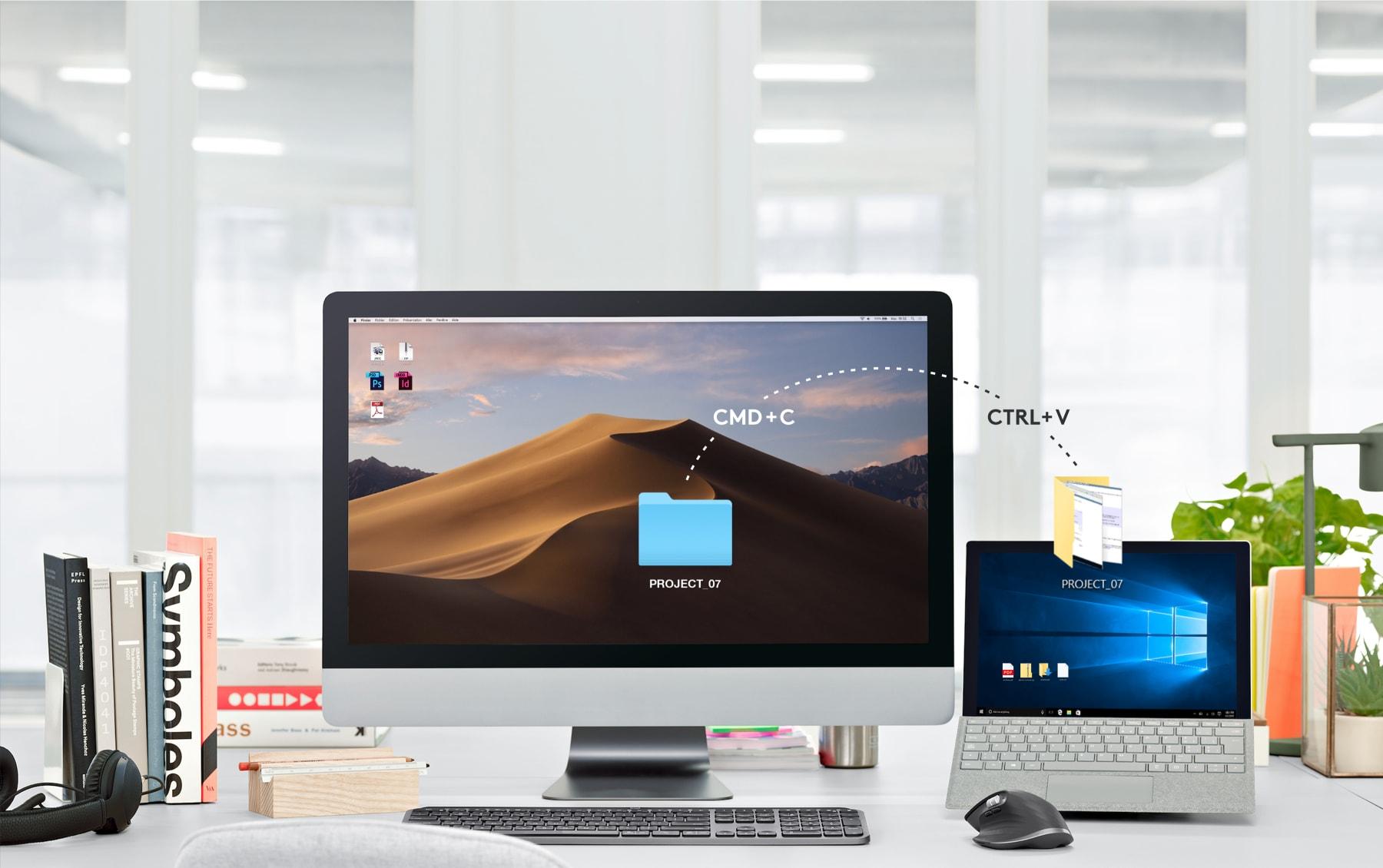Chuột không dây Logitech MX Master 3 (USB/Bluetooth/Đen) có thể dễ dàng di chuyển tập tin qua máy tính khác