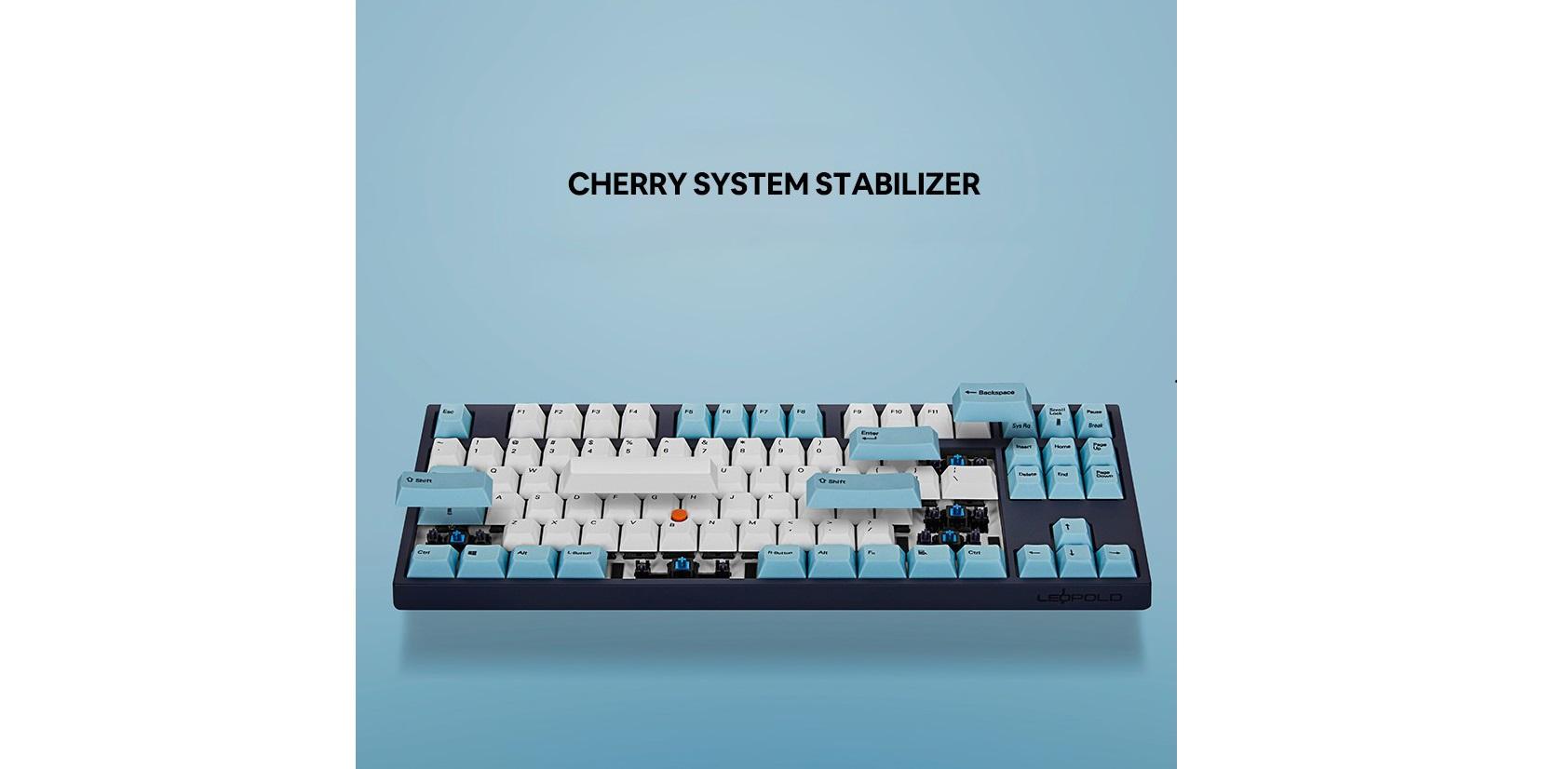 Bàn phím cơ Leopold FC750R SP Brown switch (White Skyblue) sử dụng hệ thống stab cherry cao cấp