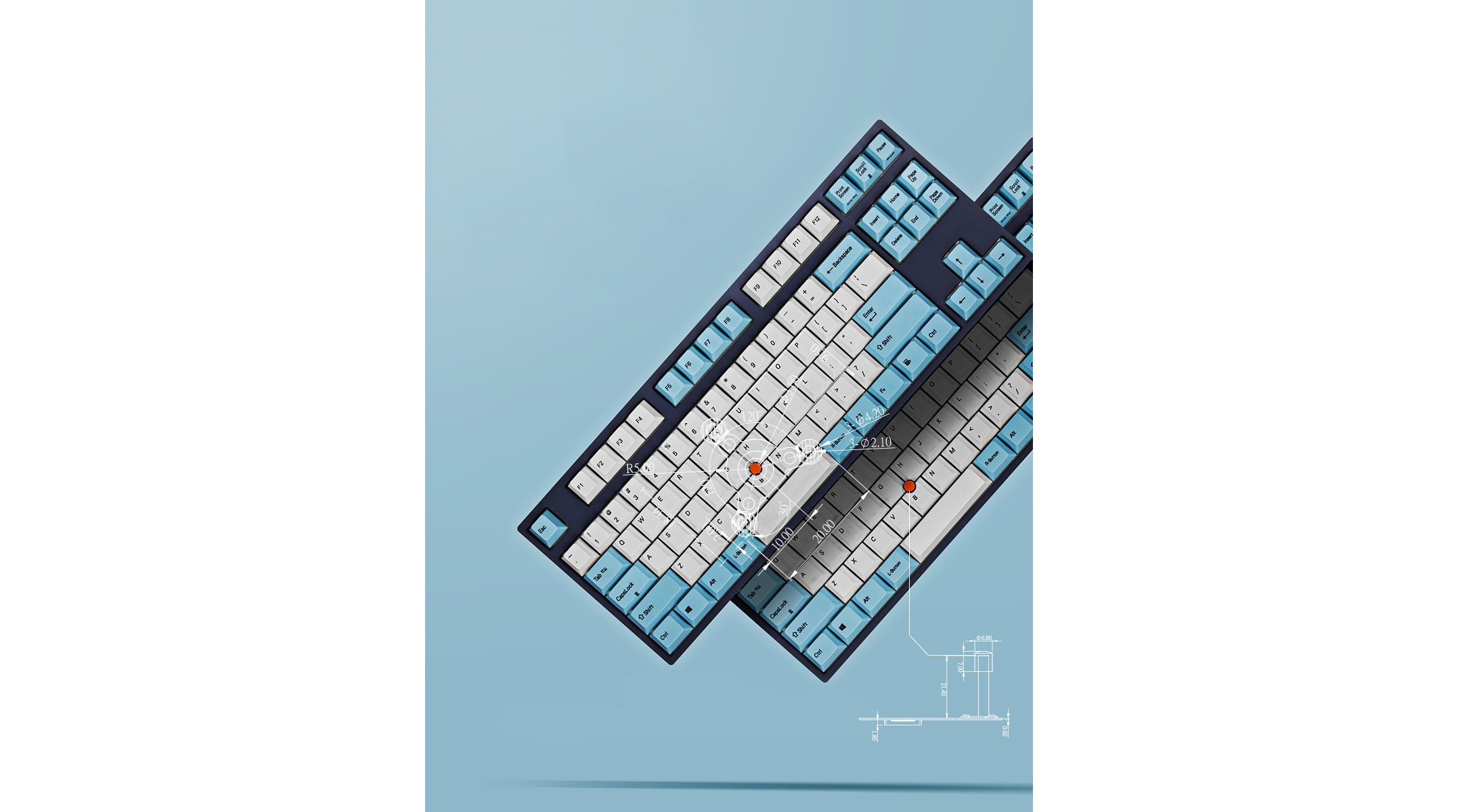 Bàn phím cơ Leopold FC750R SP Brown switch (White Skyblue) sử dụng bộ keycap đặc trưng của leopold