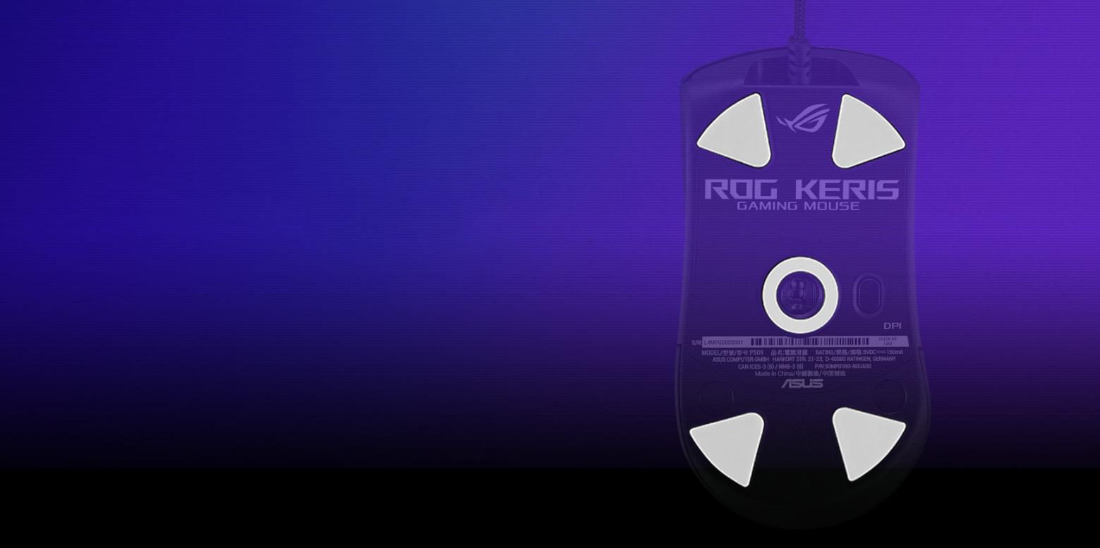 Chuột Asus ROG Keris (USB/RGB/màu đen) trang bị feet chuột PTFE cao cấp
