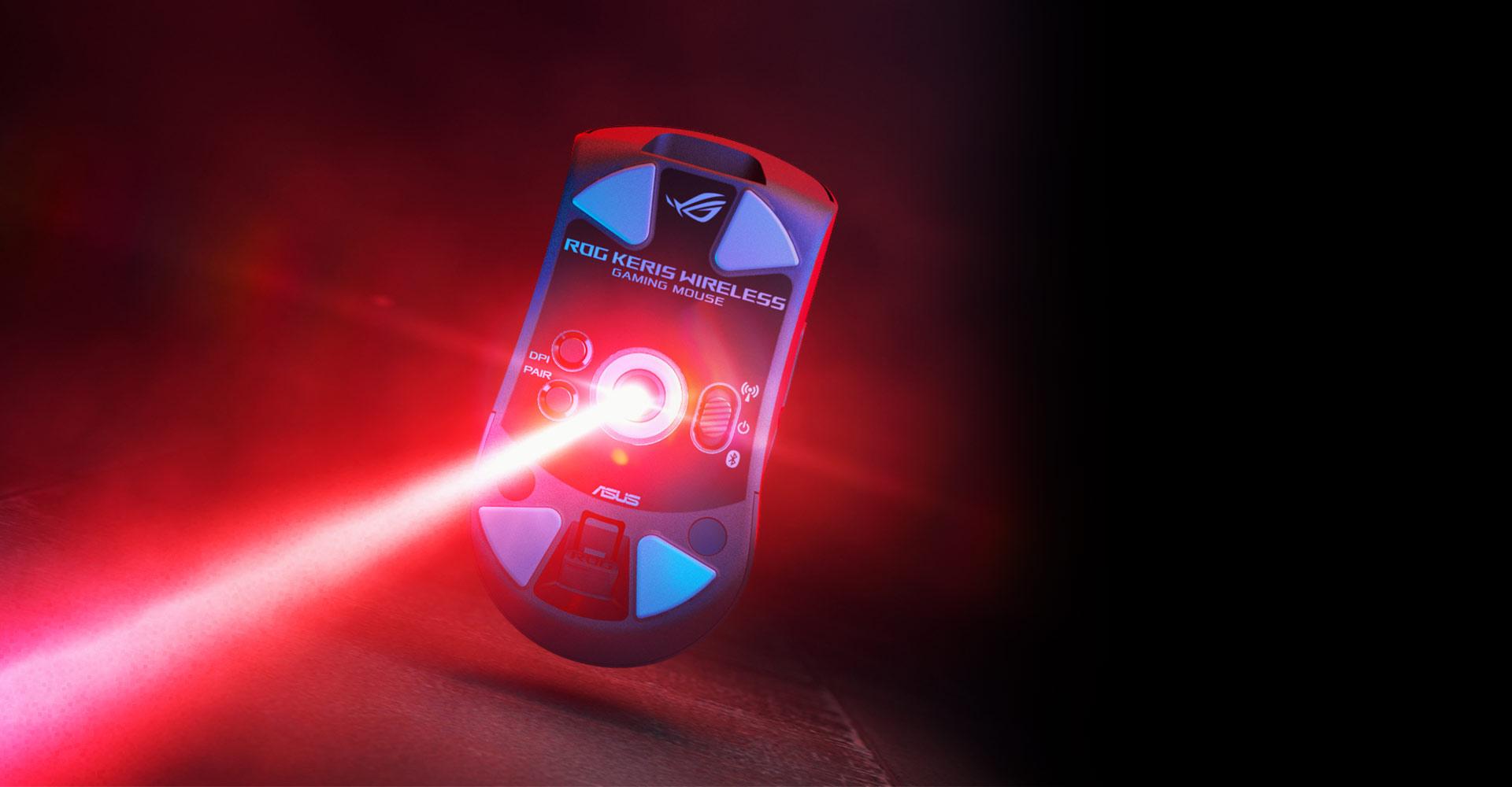 Chuột không dây Asus ROG Keris (USB/RGB/màu đen) trang bị mắt đọc cao cấp có độ chính xác cao