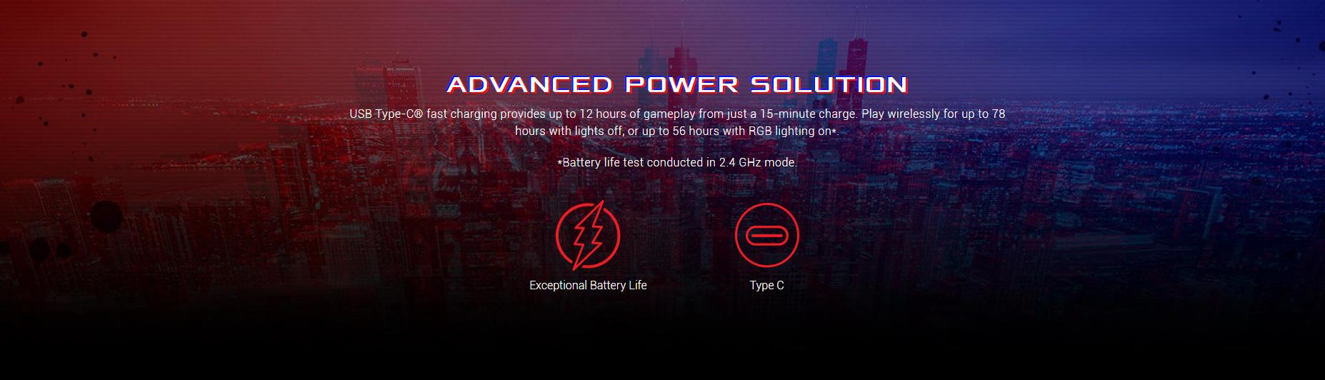 Chuột không dây Asus ROG Keris (USB/RGB/màu đen) có thời lượng pin cao và sạc nhanh