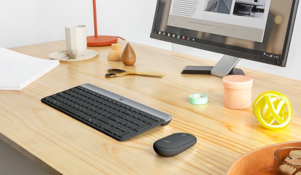 Bộ bàn phím + chuột không dây Logitech MK470 (USB/màu đen)  hiện đại và tối giản